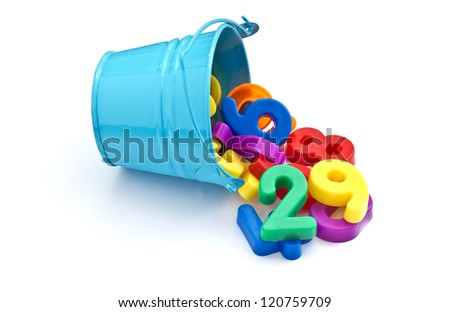 Colorful plastic numbers in little blue bucket isolated on white background - stock photo