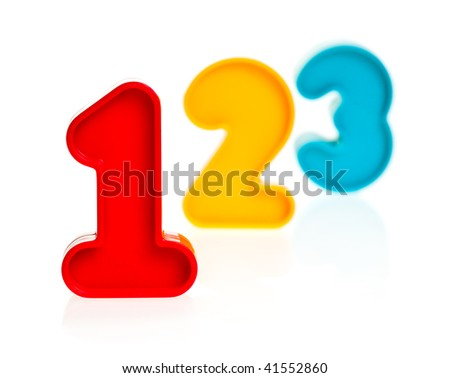 Colorful plastic numbers one two three on white background, focus on 1 - stock photo