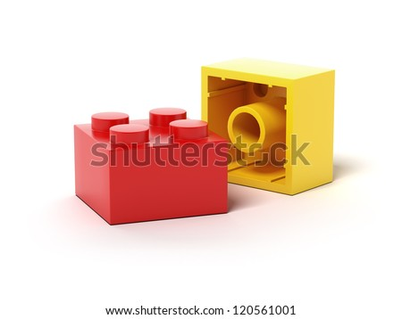 Colorful plastic toy blocks. - stock photo
