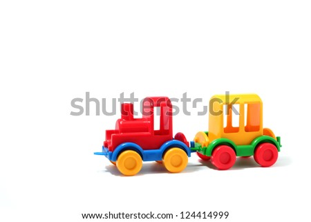 Colorful plastic train, isolated on white