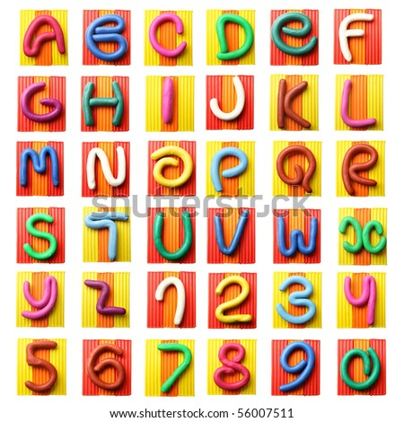 Colorful plasticine alphabet isolated over white background - stock photo
