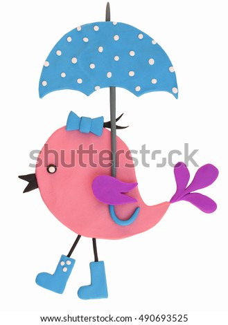 Colorful plasticine bird with umbrella isolated on a white background
