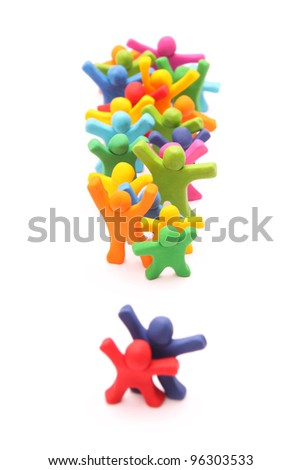 colorful plasticine people with exclamation mark isolated on white - stock photo