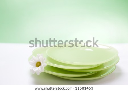 colorful plates on the green background / copyspace - stock photo