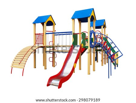 Colorful playground for children. Isolated on white - stock photo