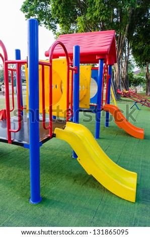 Colorful Playground in a park - stock photo