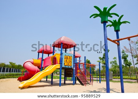 Colorful Playground in park - stock photo