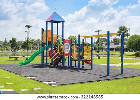 Colorful playground on yard in the park. - stock photo
