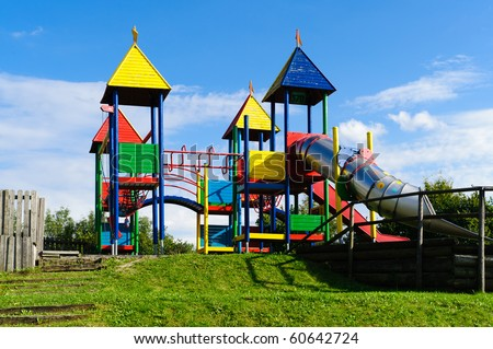 Colorful Playground with big Slide - stock photo