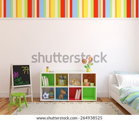 Colorful playroom interior. 3d render. - stock photo