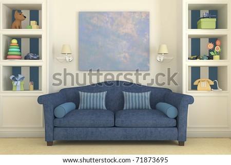 Colorful playroom interior. 3d render. - stock photo