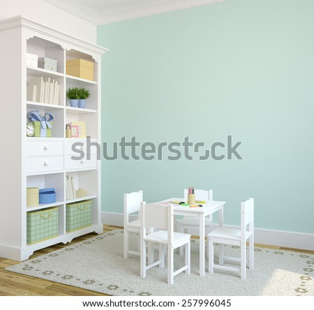 Colorful playroom interior. 3d render. Pictures in frames was painted by me in photoshop. - stock photo