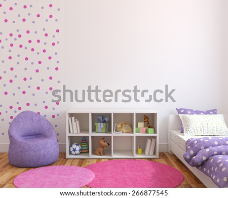 Colorful playroom interior. 3d rendering. - stock photo