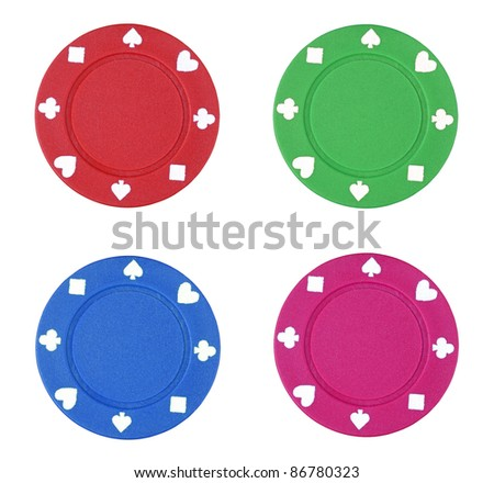 colorful poker chips on white background - stock photo