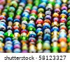 Colorful polished glass beads background, macro - stock photo