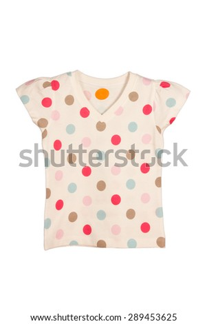 Colorful polka dotted girls t-shirt on white background