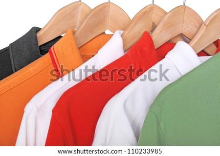 colorful polo shirts closeup - stock photo