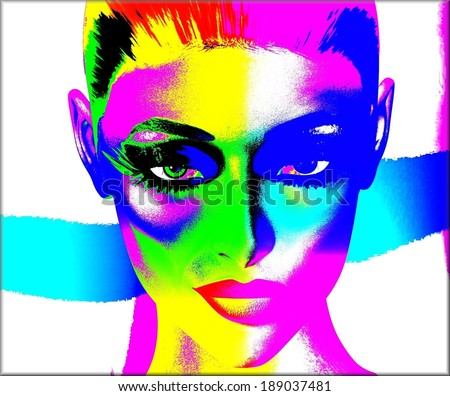 Colorful pop art image of a woman's face.  This is a digital art image of a close up woman's face in pop art style.  A modern, abstract, punk look that's sexy and confident. - stock photo