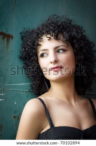 Colorful portrait of a beautiful woman - stock photo