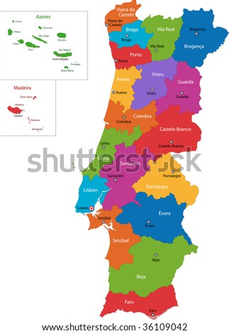 Colorful Portugal map with regions and main cities - stock photo