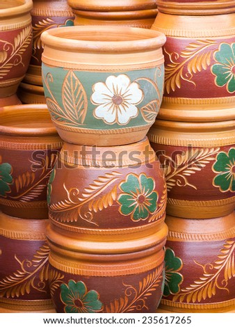 Colorful potted plants. - stock photo