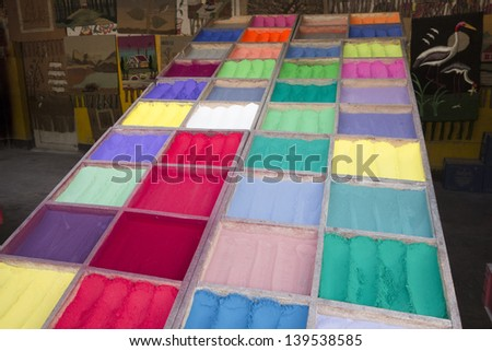 Colorful powder for holi festival celebration.