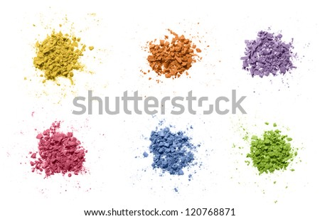 Colorful powder on white. - stock photo