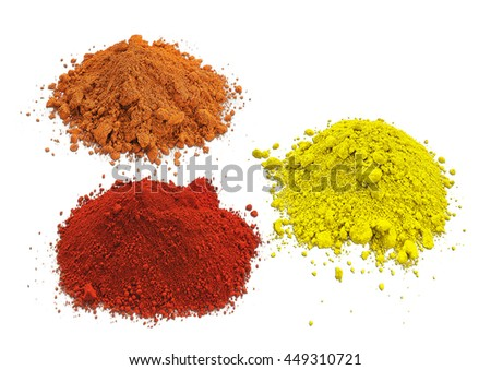 Colorful powder paint a on white background. Natural soil paint.