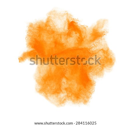 colorful powder splash isolated on black background - stock photo