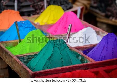 Colorful powders in Kathmandu, Nepal - stock photo