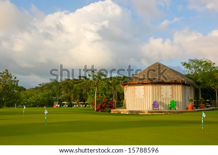 Colorful practice green from a golf course in the Bahamas. - stock photo