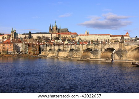 Colorful Prague gothic Castle on the River Vltava with Charles Bridge