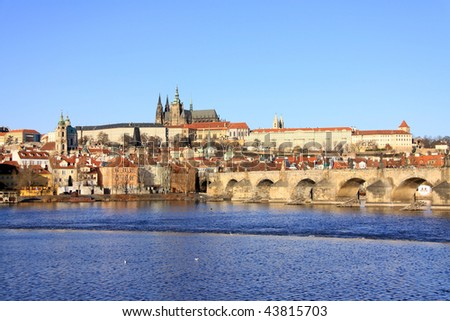 Colorful Prague gothic Castle on the River Vltava with the Charles Bridge