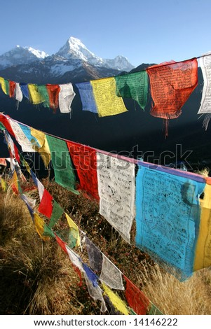 colorful prayer flags in himalaya region, nepal