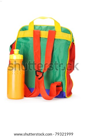 Colorful preschooler backpack and plastic water container on white background - stock photo