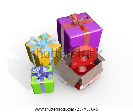 Colorful presents and in the unpacked box a three dimensional number 8 - stock photo