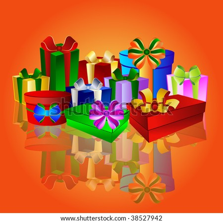 Colorful presents on white background