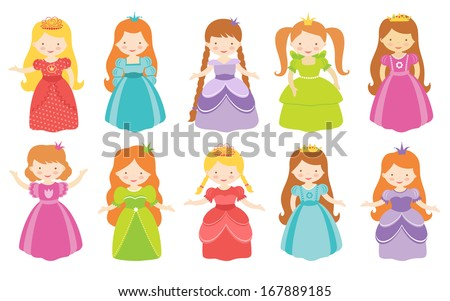Colorful princesses collection - stock photo