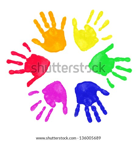 Colorful prints of hand - stock photo