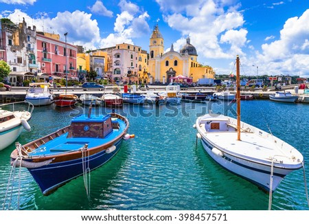 colorful Procida island in Campania, Italy - stock photo