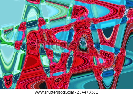 Colorful psychedelic background made of interweaving curved stripes. Illustration - stock photo