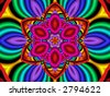 Colorful, psychedelic flower, generated from a fractal design. - stock vector