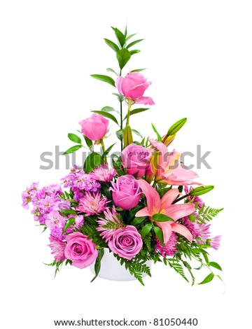 Colorful purple flower arrangement centerpiece with roses, lily, carnations, isolated on white. - stock photo
