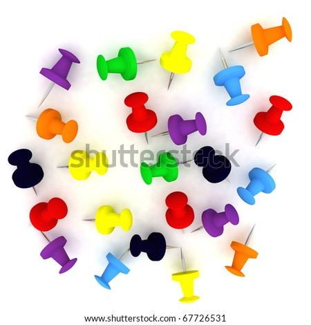 Colorful push pin collection - stock photo