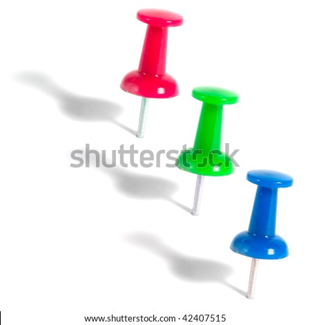 colorful push pins isolated on white background