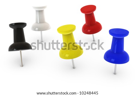 Colorful pushpin isolated over a white background.