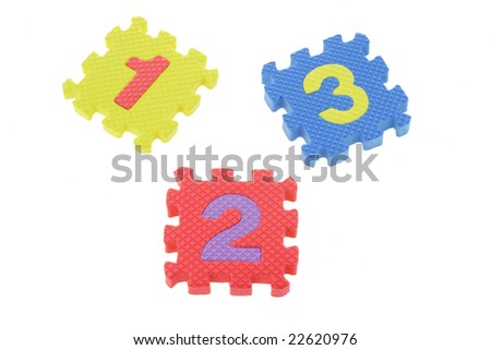 Colorful puzzle blocks with numbers one, two,  and three - stock photo
