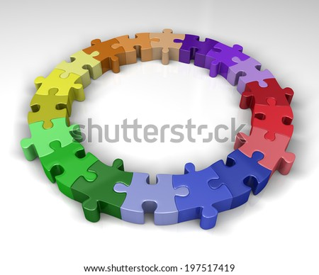 Colorful puzzle circle - stock photo
