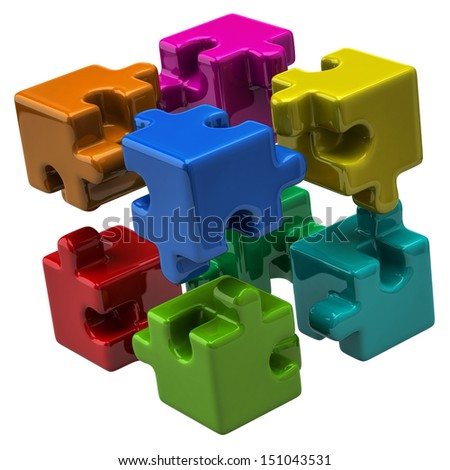 Colorful puzzle cube - stock photo