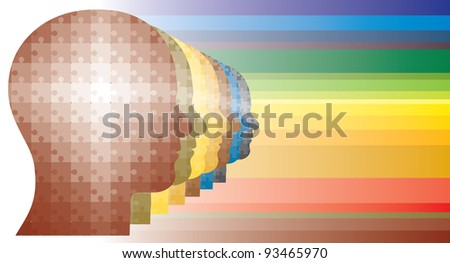 Colorful puzzle heads of men in a row in rainbow like colors. - stock photo